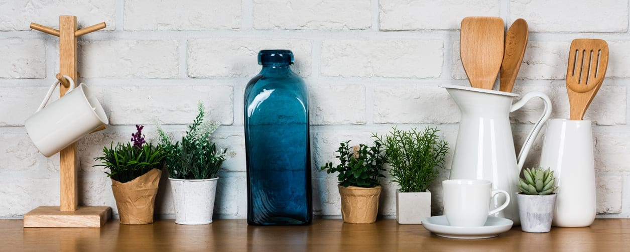 eco-cleaned home kitchen surface with blue vase